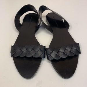Zara Black Leather Braided Open Toe Flats